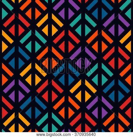 Linocut Style Geometric Seamless Pattern. Minimal Geo Suface Print. Repeated Triangles, Geometrical