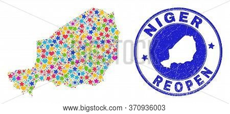 Celebrating Niger Map Mosaic And Reopening Rubber Stamp. Vector Collage Niger Map Is Done Of Scatter