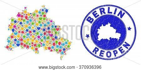 Celebrating Berlin City Map Collage And Reopening Rubber Stamp Seal. Vector Collage Berlin City Map