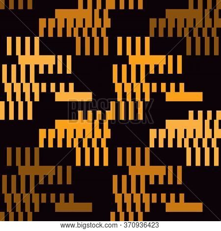 Glitch Seamless Pattern. Geometric Bauhaus Background. Modern Camouflage Print. Broken Asymmetric St