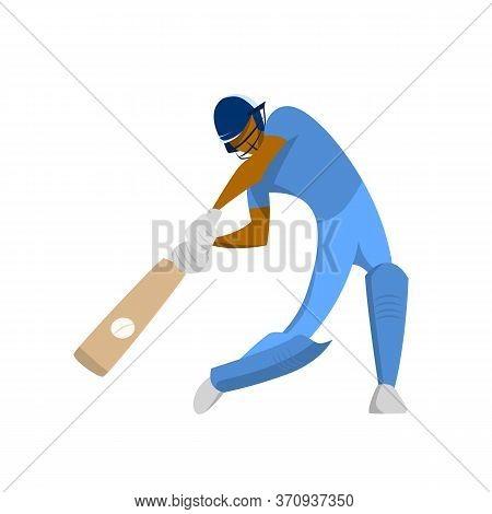 Cricket Player Hits Ball, Cartoon Isolated Vector Illustration. Abstract Cricket Flat Design Logo