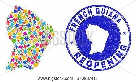 Celebrating French Guiana Map Mosaic And Reopening Unclean Stamp Seal. Vector Mosaic French Guiana M