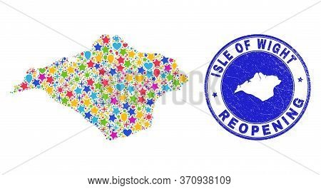 Celebrating Isle Of Wight Map Mosaic And Reopening Grunge Watermark. Vector Mosaic Isle Of Wight Map