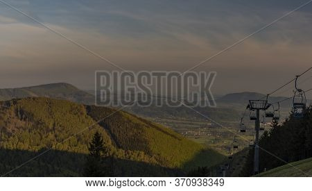 Color Spring Morning View From Pustevny In Beskydy Mountains With Cable Car