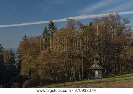 Old Wooden Chapel In Pustevny On Hill In Beskydy Mountains
