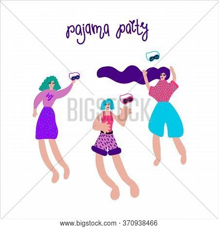 An Illustration Drawn By Hand Of A Woman In Pajamas. Girls At A Pajama Party In A Circle Of Abstract