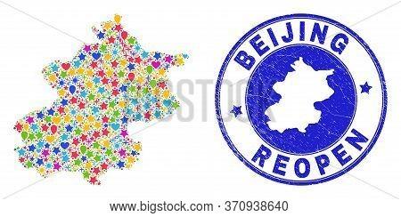 Celebrating Beijing City Map Mosaic And Reopening Grunge Seal. Vector Mosaic Beijing City Map Is Com