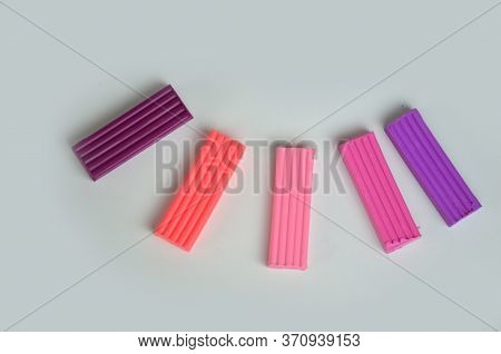 A Set Of Colors Of Modeling Clay. Modeling And Design For Children. On White Background