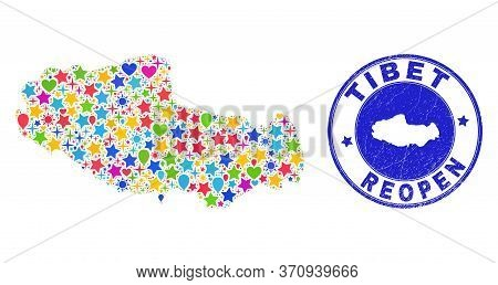 Celebrating Tibet Map Collage And Reopening Textured Seal. Vector Collage Tibet Map Is Made Of Rando