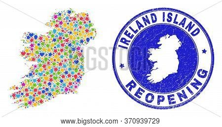 Celebrating Ireland Island Map Mosaic And Reopening Grunge Stamp. Vector Mosaic Ireland Island Map I