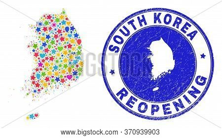 Celebrating South Korea Map Mosaic And Reopening Textured Stamp Seal. Vector Mosaic South Korea Map