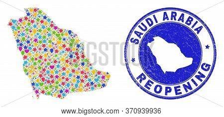 Celebrating Saudi Arabia Map Mosaic And Reopening Rubber Watermark. Vector Collage Saudi Arabia Map