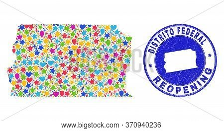 Celebrating Brazil Distrito Federal Map Mosaic And Reopening Scratched Stamp Seal. Vector Mosaic Bra