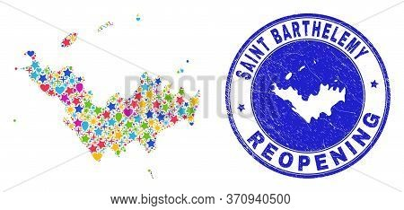 Celebrating Saint Barthelemy Map Collage And Reopening Rubber Watermark. Vector Collage Saint Barthe