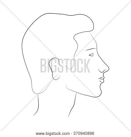 Male Head In Profile. Portrait Of A Caucasian Man. Vector Outline Illustration. A Severe Look. Human