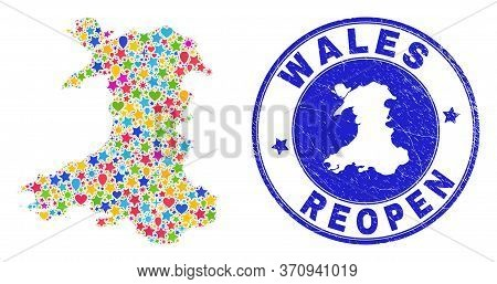 Celebrating Wales Map Mosaic And Reopening Rubber Seal. Vector Mosaic Wales Map Is Made From Scatter