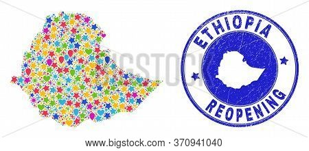 Celebrating Ethiopia Map Mosaic And Reopening Unclean Stamp Seal. Vector Mosaic Ethiopia Map Is Cons