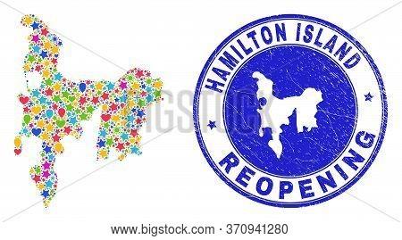 Celebrating Hamilton Island Map Mosaic And Reopening Rubber Stamp. Vector Mosaic Hamilton Island Map
