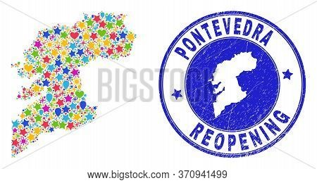 Celebrating Pontevedra Province Map Collage And Reopening Corroded Stamp Seal. Vector Mosaic Ponteve