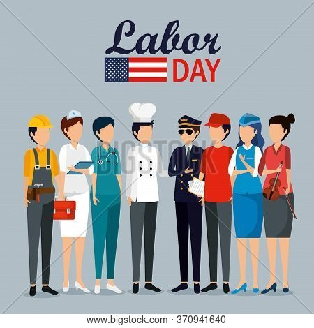 Labor Day Celebration With Professional Workers Vector Illustration