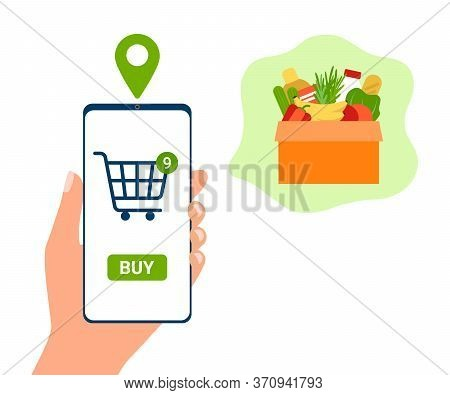 Smartphone App For Online Shopping Goods Food. Customer Buy Box Meal. Grocery Delivery At Home. Shop