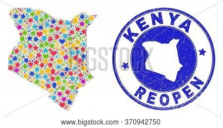 Celebrating Kenya Map Collage And Reopening Unclean Watermark. Vector Collage Kenya Map Is Designed