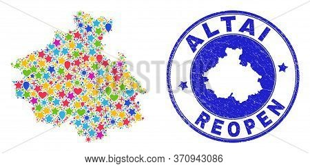 Celebrating Altai Republic Map Collage And Reopening Rubber Watermark. Vector Mosaic Altai Republic