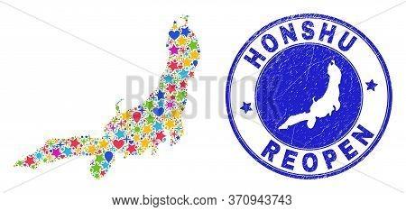 Celebrating Honshu Island Map Collage And Reopening Grunge Stamp Seal. Vector Collage Honshu Island