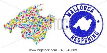 Celebrating Mallorca Map Collage And Reopening Textured Stamp. Vector Collage Mallorca Map Is Compos
