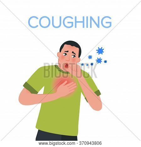 Severe Cough In An Adult. Viral Infections Of The Upper Respiratory Tract. Vector Illustration Of Si