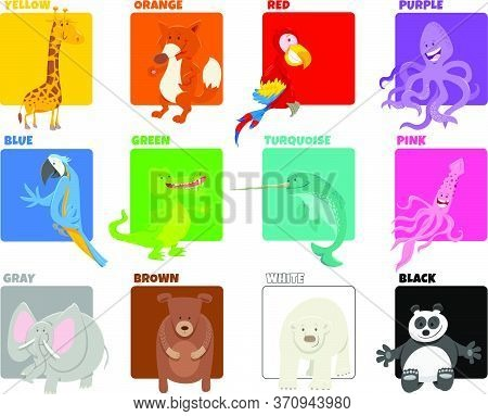 Cartoon Illustration Of Basic Colors With Funny Animal Characters Educational Set