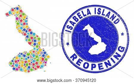 Celebrating Isabela Island Of Galapagos Map Mosaic And Reopening Rubber Seal. Vector Mosaic Isabela