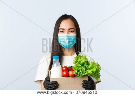 Covid-19, Grocery Store, Employment, Small Business And Preventing Virus Concept. Cheerful Smiling A