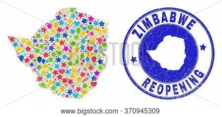Celebrating Zimbabwe Map Mosaic And Reopening Dirty Watermark. Vector Mosaic Zimbabwe Map Is Organiz
