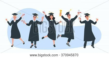 A Group Of Students With Diplomas Celebrate The End Of College. Happy Graduates. Student Holidays. V