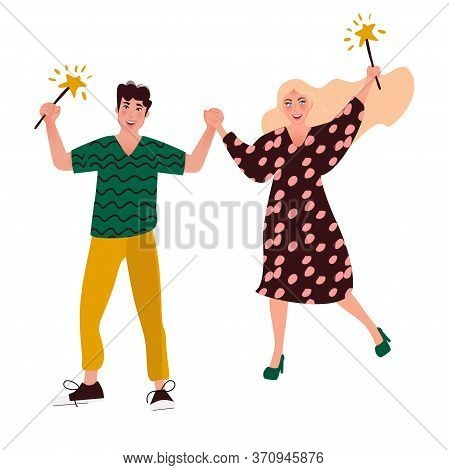 People Dance At A Festival Or Carnival. Young People With Sparklers Celebrate The New Year. Dance Pa