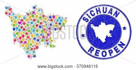 Celebrating Sichuan Province Map Mosaic And Reopening Dirty Seal. Vector Mosaic Sichuan Province Map