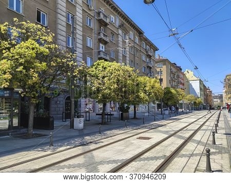 Sofia, Bulgaria - April 24, 2020:  Sunset View Of Graf Ignatiev Street In Sofia, Bulgaria