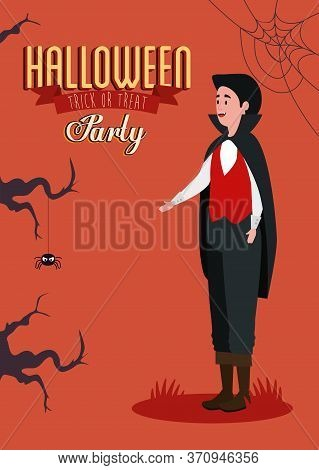 Poster Of Party Halloween With Young Man Disguised Of Vampire Vector Illustration Design