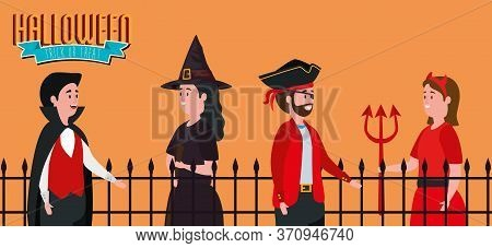 Poster Halloween With Group Of People Disguised Vector Illustration Design