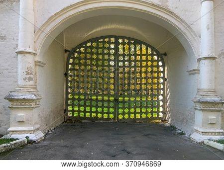Closed Lattice Wooden Gate In The Rear Entrance Gate In The Izmaylovo Estate, Moscow, Russia. Cultur