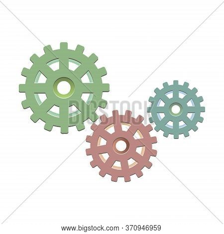 Metal Gears. Factory Gears Vector Icon. Mechanical Gear. The Image Of The Gear. Machine Gear. Cogwhe