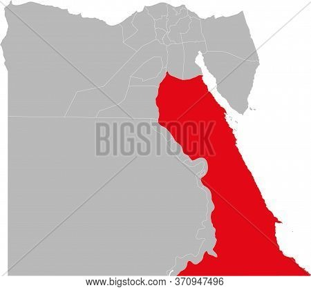Red Sea Governorate Highlighted On Egypt Map. Business Concepts And Backgrounds.