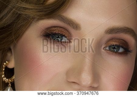 Macro Shot Of Woman's Beautiful Eye With Extremely Long Eyelashes. Sexy View, Sensual Look. Female E