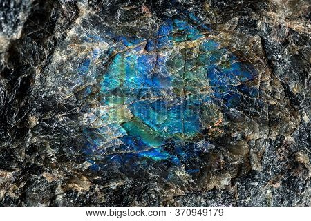 Natural Blue Labradorite Crystal In The Rock