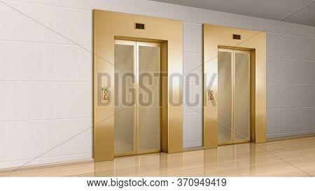 Golden Elevator With Glass Doors In Hallway Perspective View. Vector Realistic Empty Modern Office O
