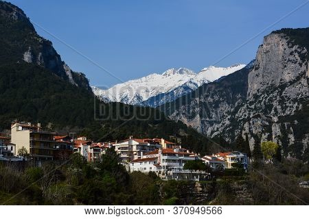Litochoro, Greece - April 12, 2015: View Of The Snow-capped Mount Olympus From The Village Of Litoch
