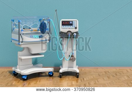 Medical Ventilator And Infant Incubator In The Room. Neonatal Intensive Care Unit, Nicu. 3d Renderin