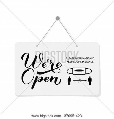 We Re Open Calligraphy Hand Lettering Signboard. Re- Opening Of Shops, Services, Restaurants, Barber