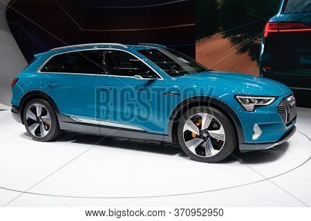 Paris, Ile De France / France - October 07 2018 : Mondial Paris Motor Show Audi E-tron 55 Quattro